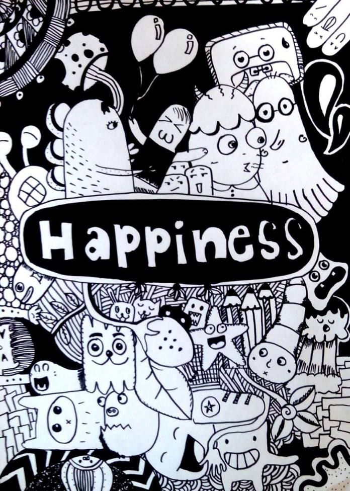 """Happiness"" Drawing, black marker on a paper [doodle art]"
