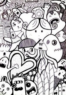 """City Of Cheos"" Drawing, on a paper with black marker [doodle art]"