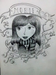 """Morie goes wild"" sketch, on a paper with pencil sketch [sketch art]"