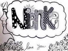 """Nienke"" Drawing, black marker on paper [Doodle Font Art]"